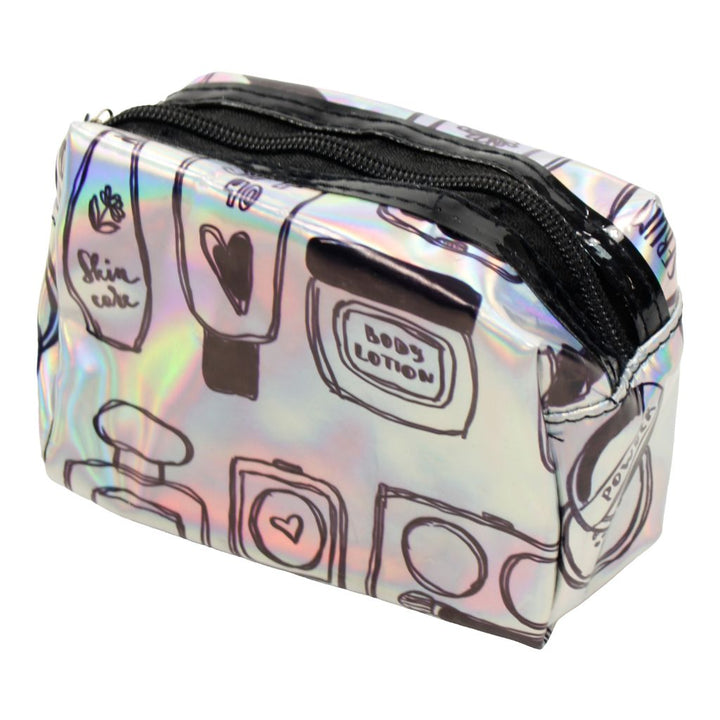 Small Silver Metallic Cosmetic Bag Beauty Print