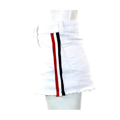 Denim Skirt with Red White Black Stripe
