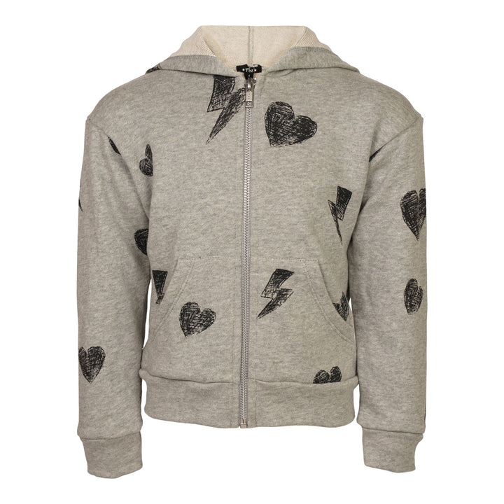 Allover Hearts & Bolts Zip Hoodie