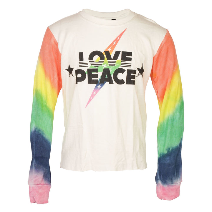 Tie Dye Sleeve Love Peace Crop Sweatshirt