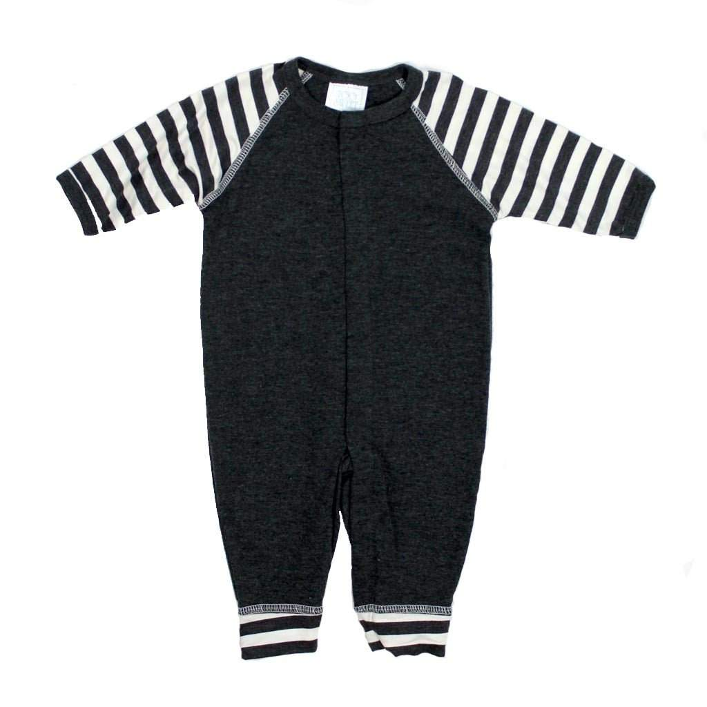 Union Suit Charcoal w Stripe Sleeve