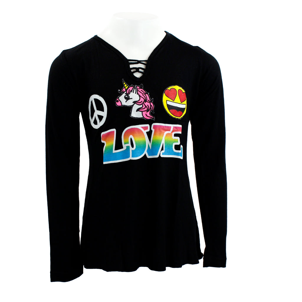 Long Sleeve Criss Cross Top with Patches Peace Unicorn