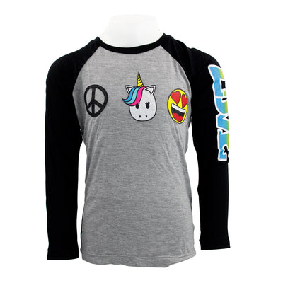 Baseball Top w Love Patches Peace Unicorn