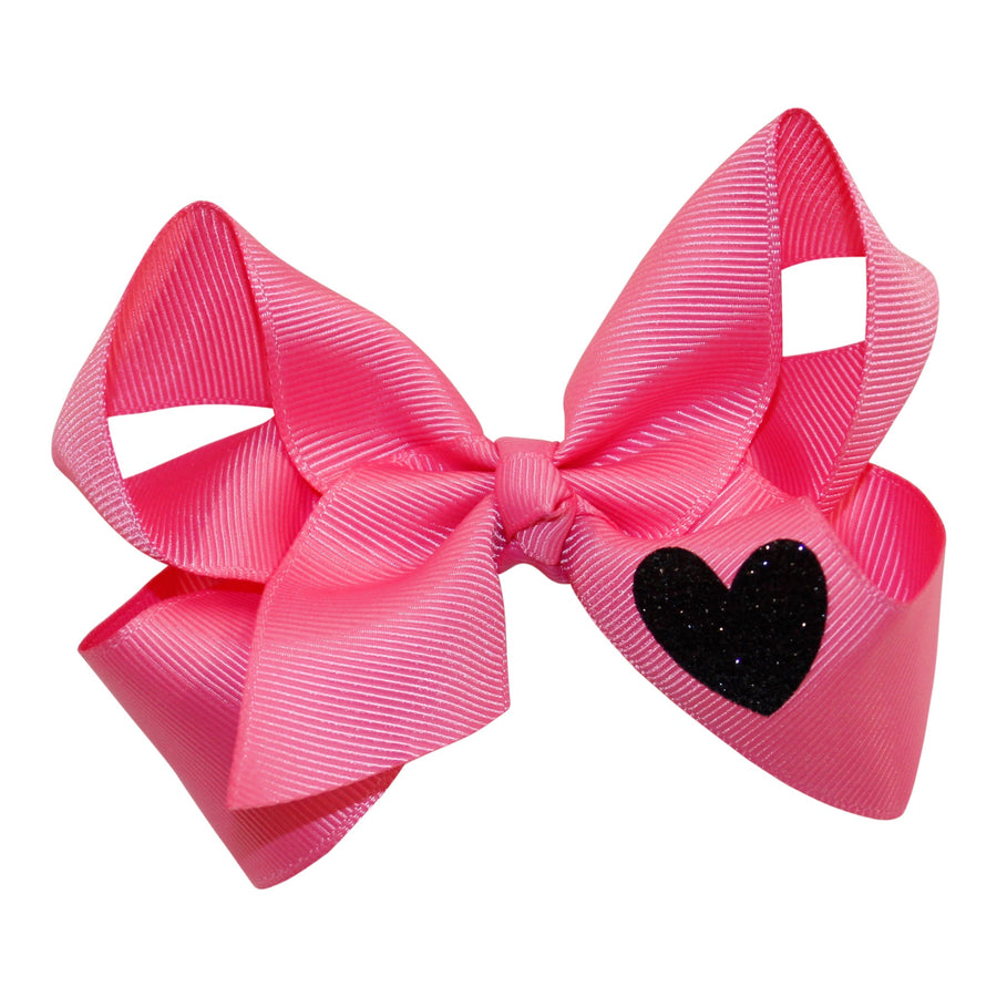 4 Inch Bow Clip with Glitter Heart
