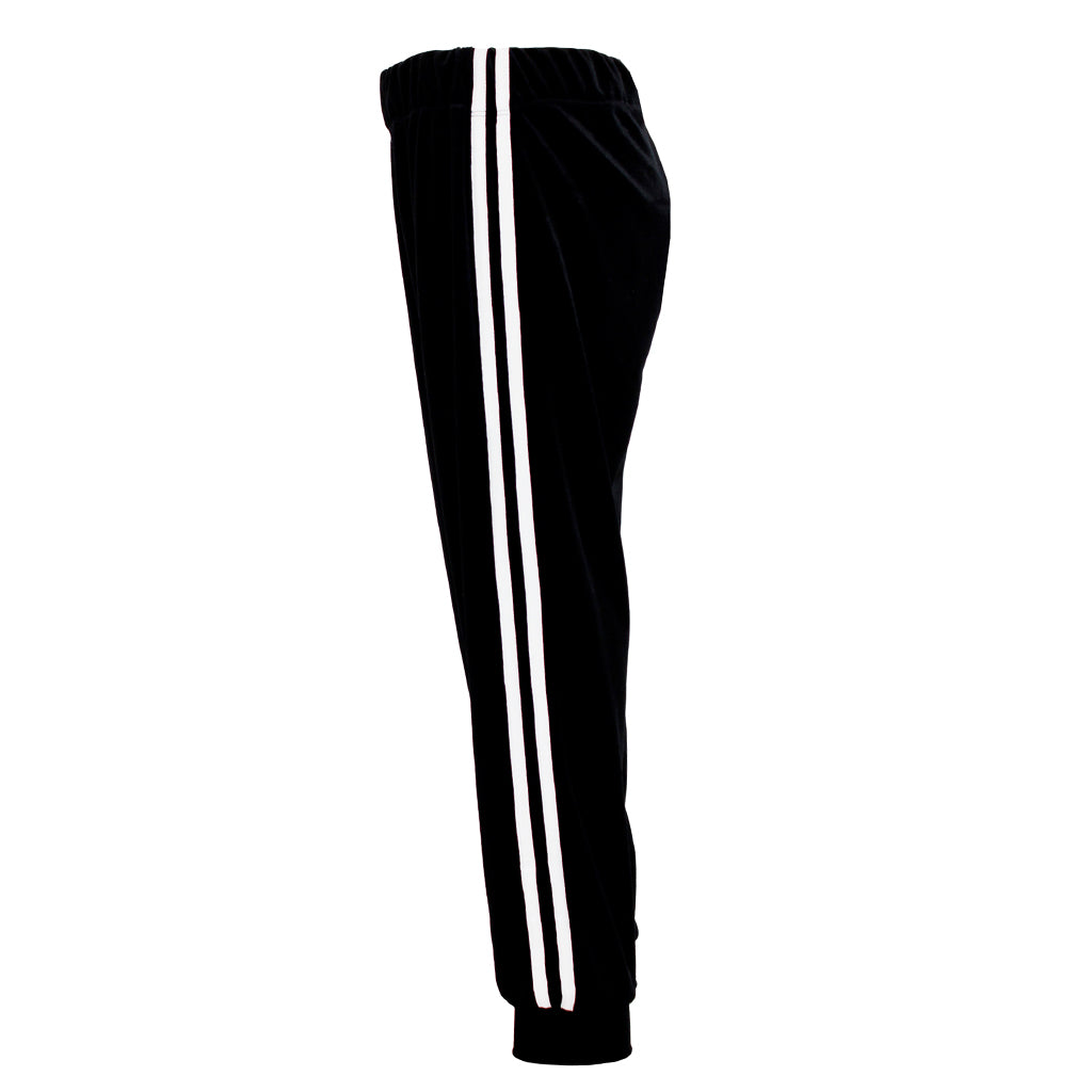 Velour Pant with White Stipe