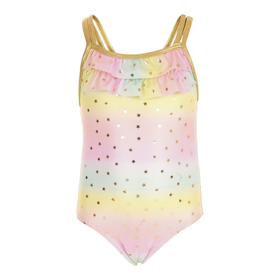 1 Piece Ruffle Ombre Gold Star Swimsuit
