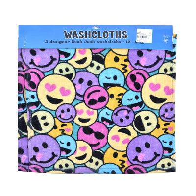 Smiley Faces Wash Cloth Two Pack