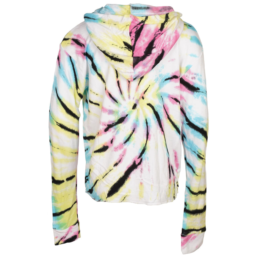 Tie Dye Long Sleeve Cropped Hooded with Stars