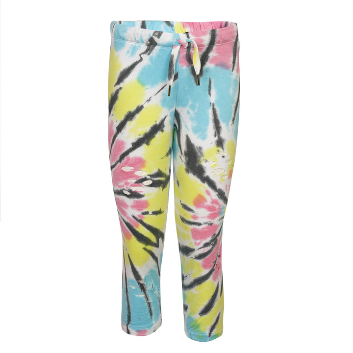 Pastel Spider Tie Dye Distressed Sweatpant