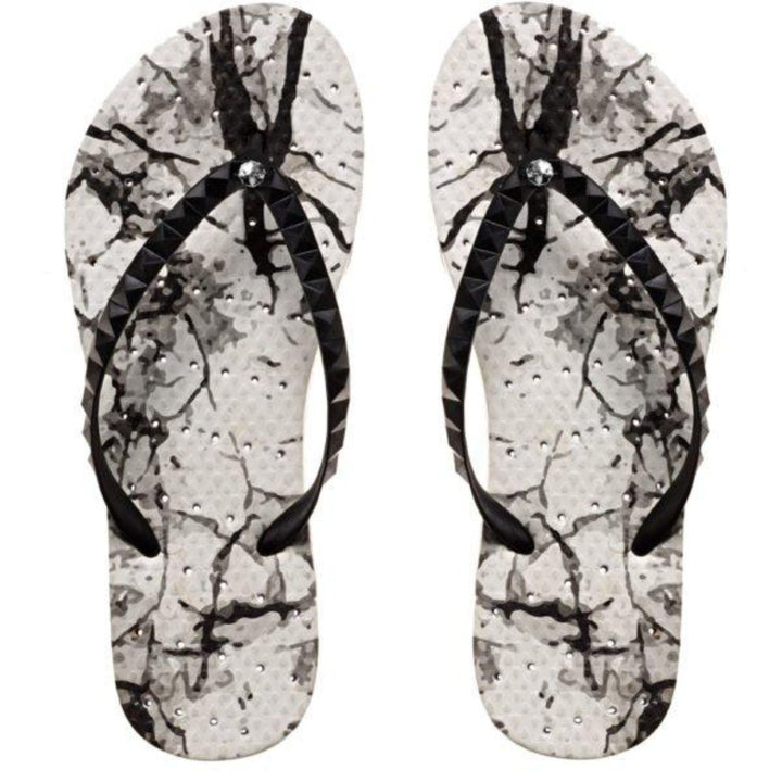 Youth Size White Marble Flip Flop