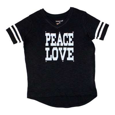 Short Sleeve V-neck With Peace Love And Stones