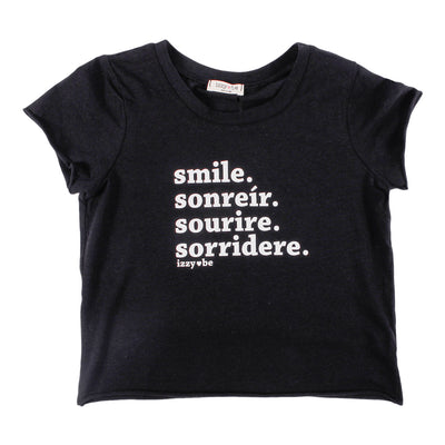 Smile Raw Edge Crop Tee