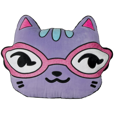 Cat with Glitter Glasses Pillow
