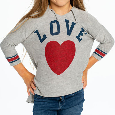 Cozy Knit Three Quarter Hoody with Love