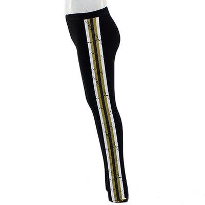 Legging With Black, White and Gold Stripe