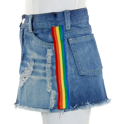 Denim Skirt with Rainbow Taping