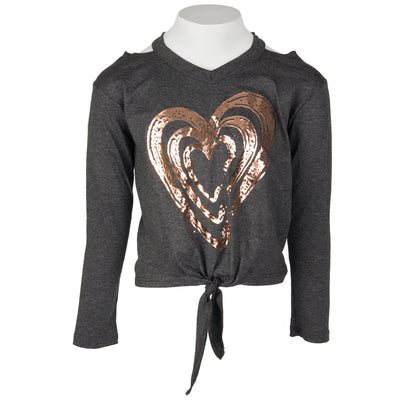 Long Sleeve Tie Front with Triple Heart