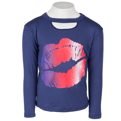 Long Sleeve Cut Out Neck with Ombre Lip