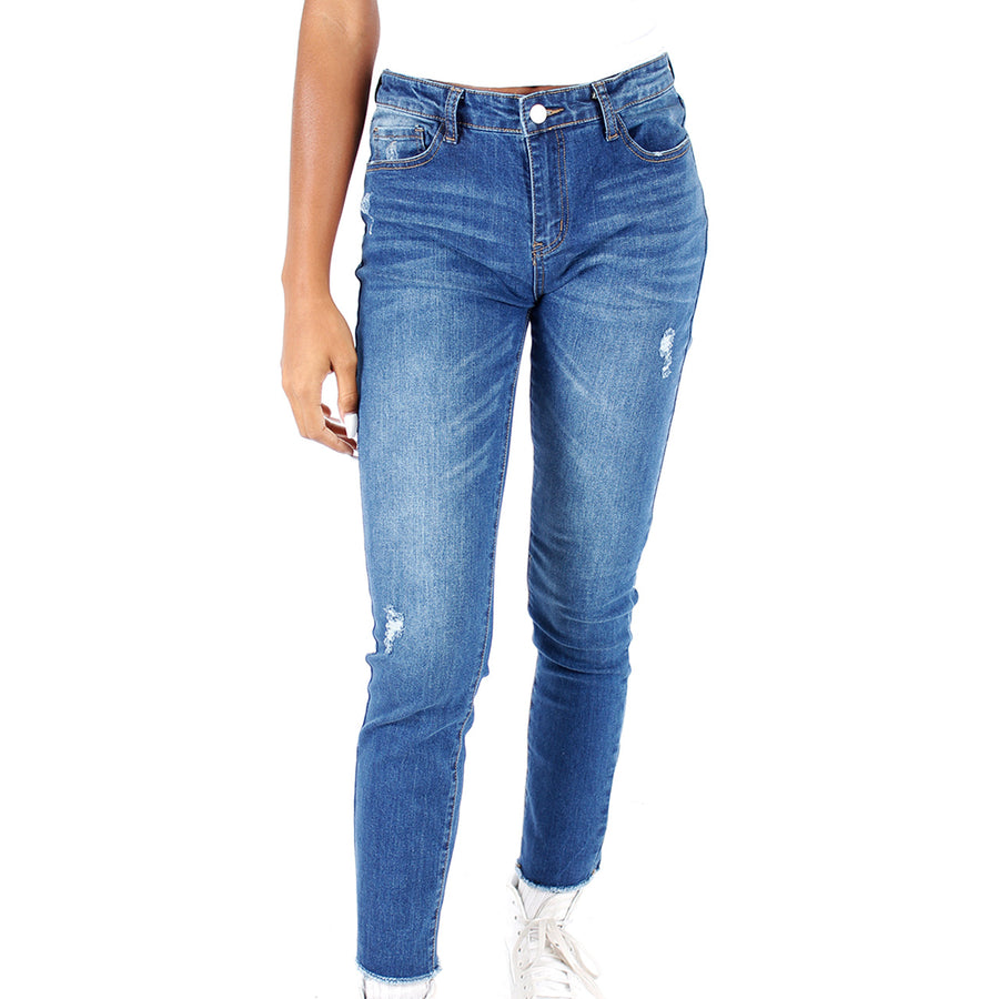 Frayed Hem Distressed Skinny