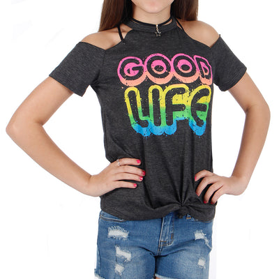 Short Sleeve Knot Cold Shoulder with Good Life