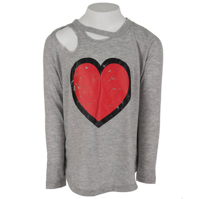 Long Sleeve Top Cut Out with Red Heart