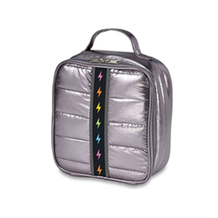 Pewter Puffer with Rainbow Bolt Lunch Bag