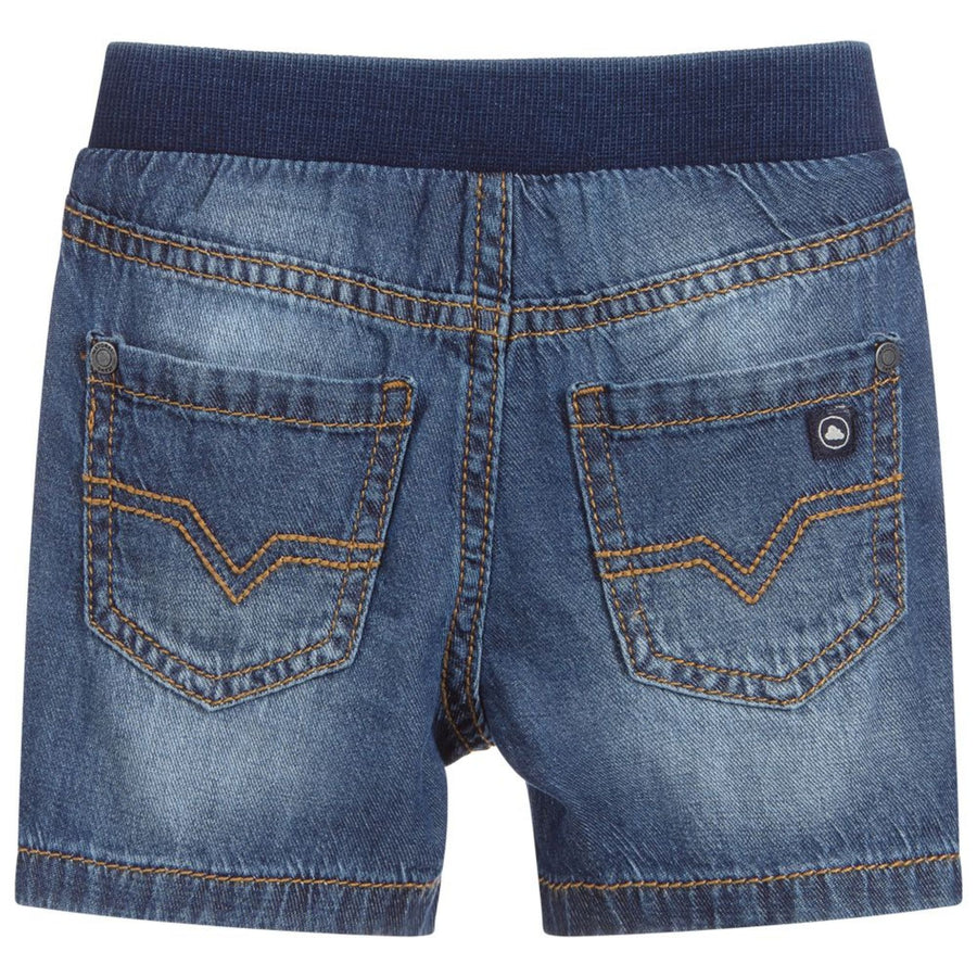Soft Denim Short with Elastic Waist and Button Snap Closure