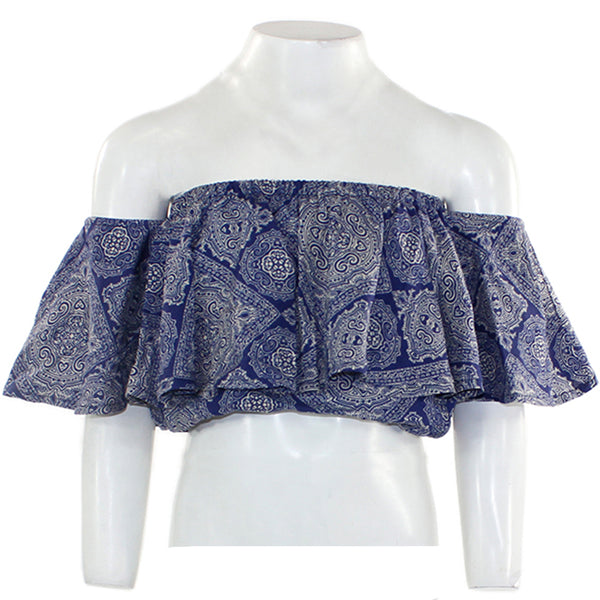 Print Paisley Off The Shoulder Top