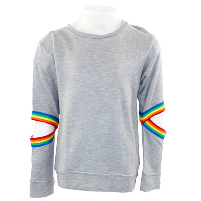 Long Sleeve Banded Sweatshirt with Open Elbow and Rainbow Taping