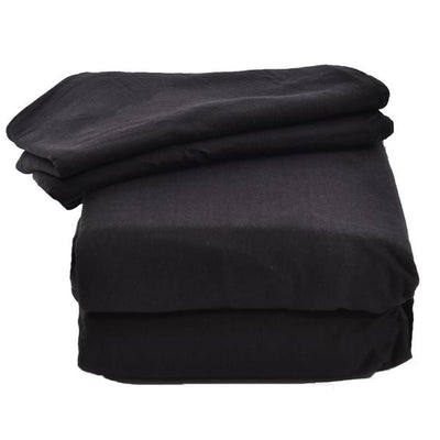 Four Piece Black Solid Jersey Sheet Set