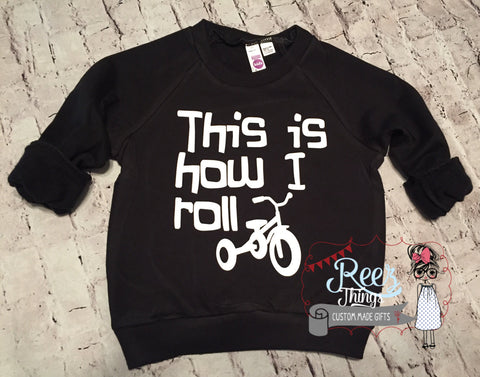 This is how I Roll, Check Meowt, Black, Kids Sweatshirt, Girls Sweater, Kids Clothing, Childrens Clothing, Black Toddler Shirt, Kids Shirt,