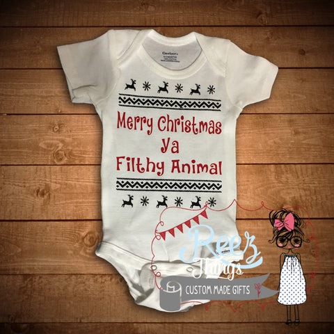Custom, Funny, Merry Christmas, ya filthy animal, Romper, Creeper, Bodysuit, infant, baby, custom, onesie, shirt