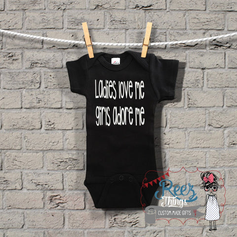 Funny, Baby Bodysuit, Ladies Love Me Girls Adore Me, Romper, bodysuit, creeper, infant, baby, shirt