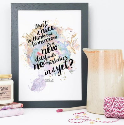 Literary Watercolour Print ''Tomorrow is a new day''