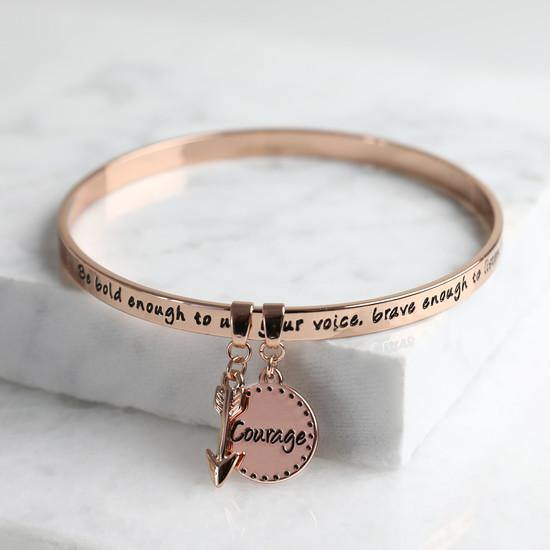 'Bold and Brave' Meaningful Word Bangle