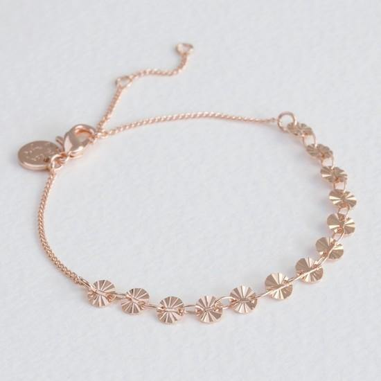 DIAMOND TIP DISC BRACELET IN ROSE GOLD - Salam Gorgeous