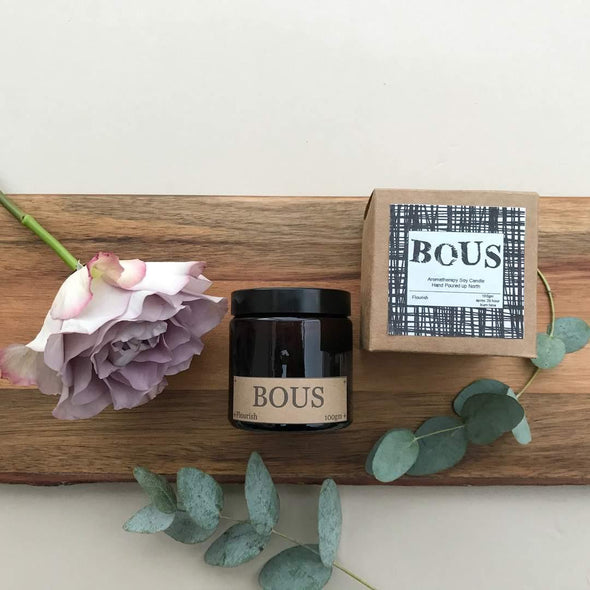 Flourish- Medium Hand Poured Soy Aromatherapy Candle with Wooden Wick