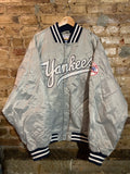 New York Yankees Silver Satin Jacket XXL