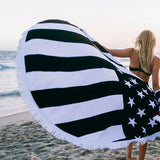 Black and White American Flag Round Towel | Black and White American Flag Towel | Round Towel | Patriotic Towel