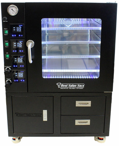 3.2CF BVV Vacuum Oven - LCD Display and LED's - 4 Individually Heated Shelves with Drawers and Pump Cabinet