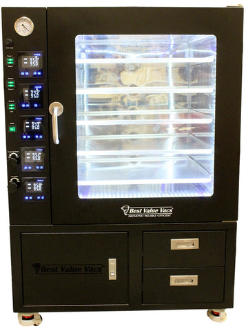 7.5CF BVV Vacuum Oven - LCD Display and LED's - 5 Individually Heated Shelves with Drawers and Pump Cabinet