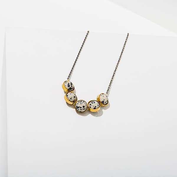 Larissa Loden Alignment Necklace - Brass & Dalmatian Jasper