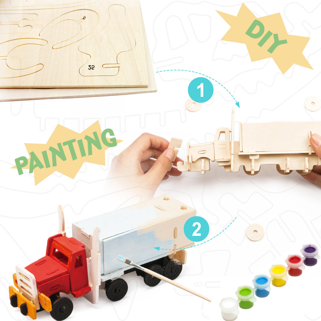 Wooden Puzzle With Paint Kit - Truck