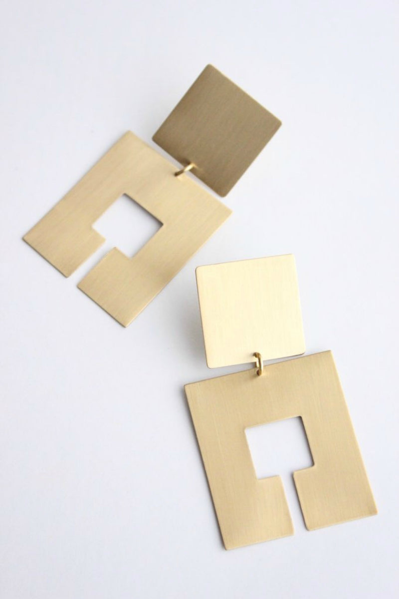 David Aubrey Brass Square Earrings