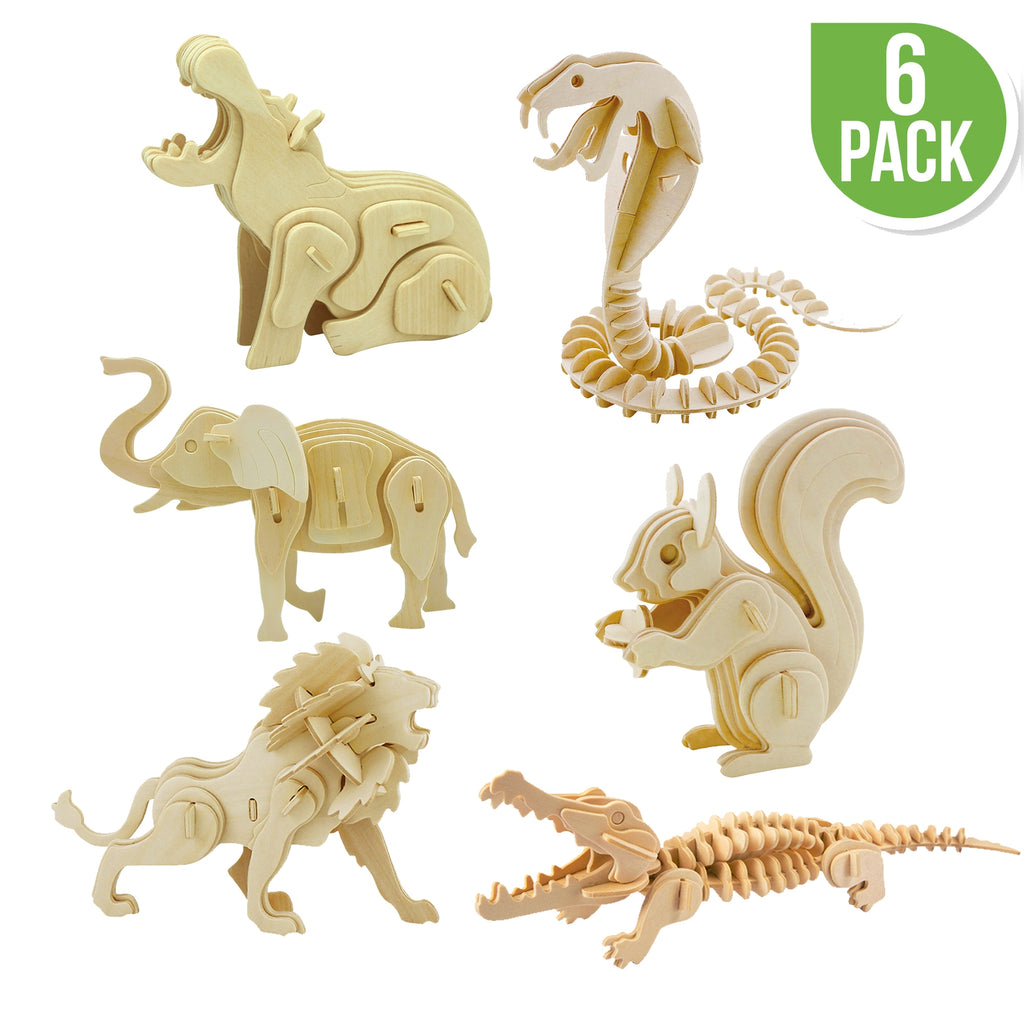 Wooden Puzzle - 6 Ct. - Wild Animals
