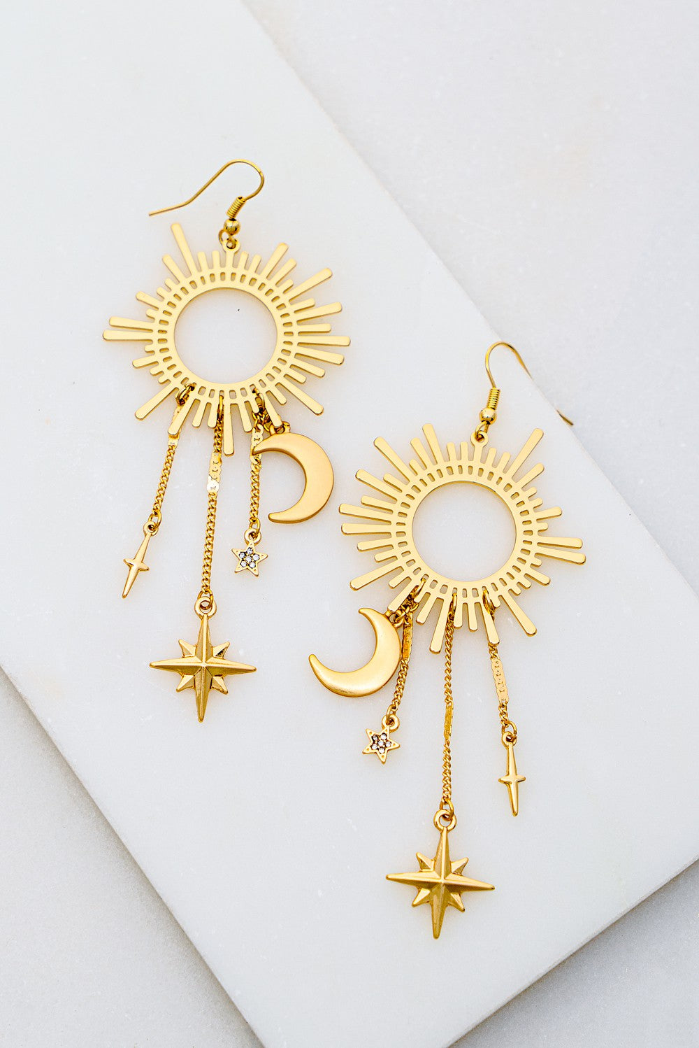 Starbust Earrings w/ Moon & Stars