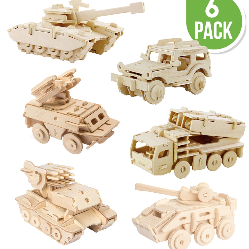 Wooden Puzzle - 6 ct. - Military Vehicles