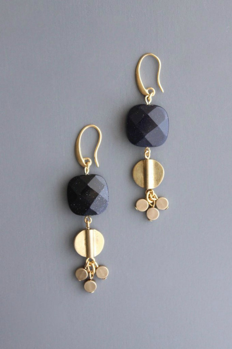 David Aubrey Brass & Blue Goldstone Earrings
