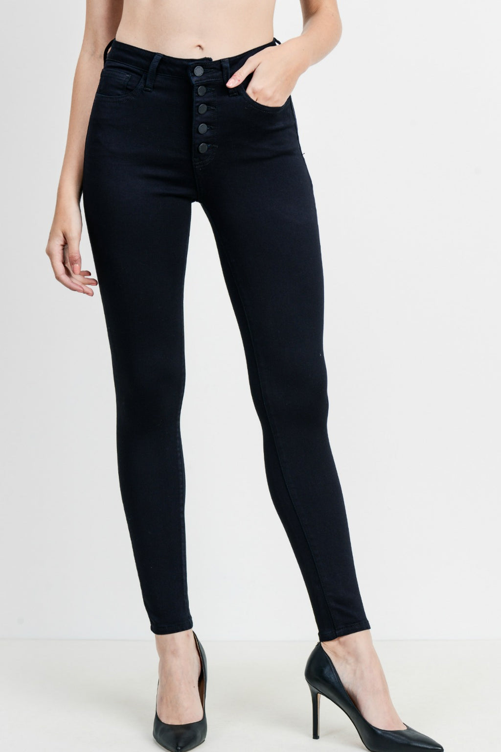 Just Black High Rise Button Down Skinny