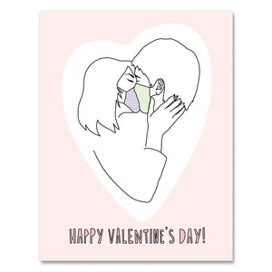 Near Modern Disaster Greeting Card - Valentine's Day Masked Kiss
